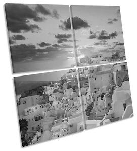 Santorini Greece Sunset B&W CANVAS WALL ART Square Print Multi