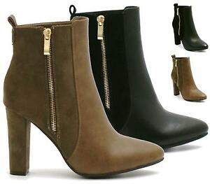 Womens-Ladies-Block-Heel-Ankle-Boots-Mid-High-Zip-Up-Faux-Leather-Shoes-Size-3-4