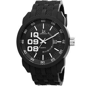 New-Men-039-s-Joshua-amp-Sons-JS63BK-Sport-Quartz-Date-All-Black-Silicone-Strap-Watch