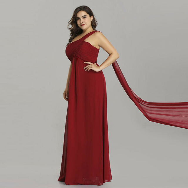 Ever-Pretty Plus Size Ribbon Bridesmaid Dresses Long Maxi Dress Burgundy 09816