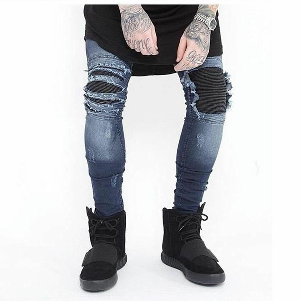 Men Stretch Hole Distressed Biker Jeans Wash Streetwear Hip Hop Pants Jogger