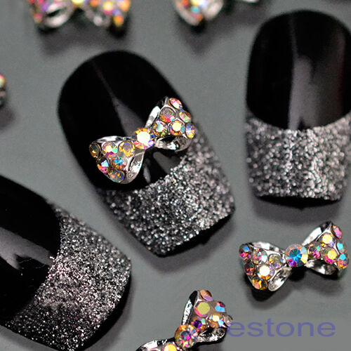 10Pcs Crystal Bow Knot Multicolor Glitter Rhinestone Nail Art Tips 3D Stickers