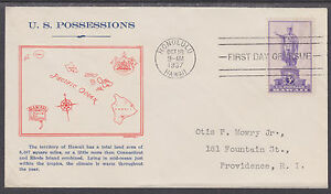 US-Planty-799-6a-FDC-1937-3c-Hawaii-Grandy-Map-Cachet