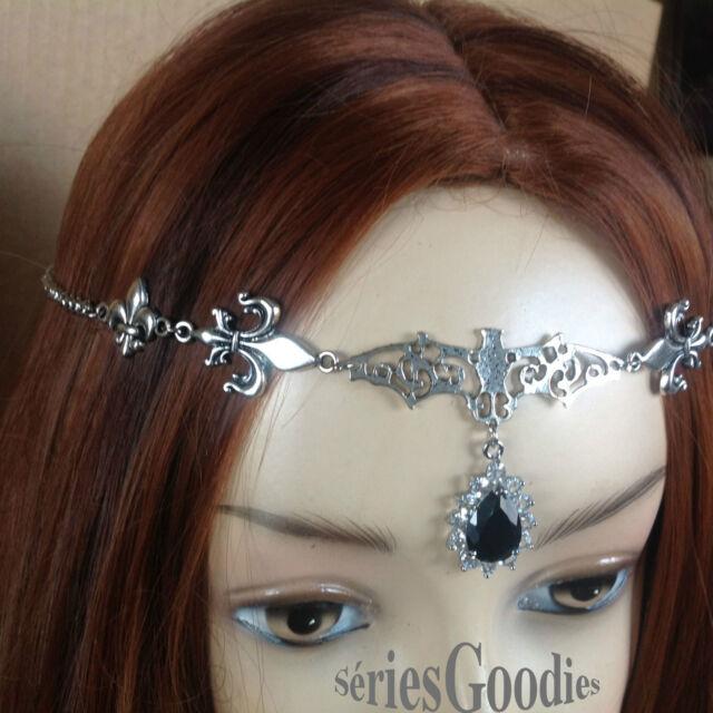 Celtique gothique médiéval Diadème-Tiare-collier Vampire fleurs de lys strass