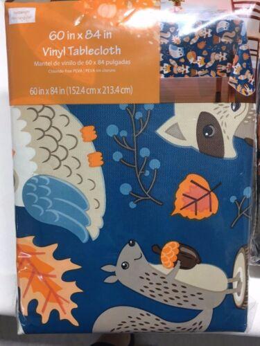 Harvest automne Hibou Vinyle Table Nappe Thanksgiving Pie Fox Décoration Citrouille 4 Tailles