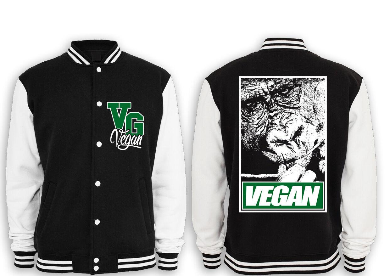 Vegan Gorilla College Giacca Straight Edge, Meat Is Murder, no no no pelliccia, Gym, Body, NEW d55cfb