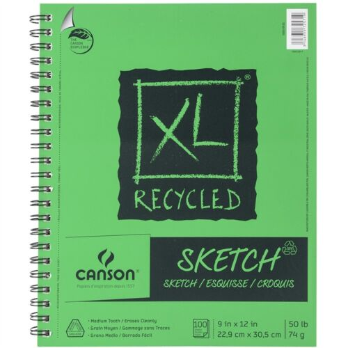 """Canson XL Recycled Side Spiral Sketch Paper Pad 9/""""x12/""""-100 Sheets"""