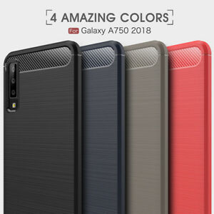 premium selection b53ee 160ba Details about For Samsung Galaxy A7 2018 A750 Carbon Fiber Silicone Cover  Shockproof TPU Case