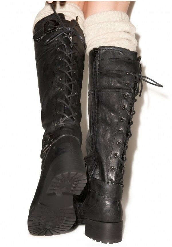 NWOB  Wanted Ballard Knee-High Back Lace-up Boot - Sz 10 (Black)