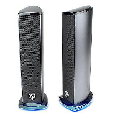 GOgroove SonaVERSE Ti Blue LED Satellite USB Powered Computer Tower Speakers