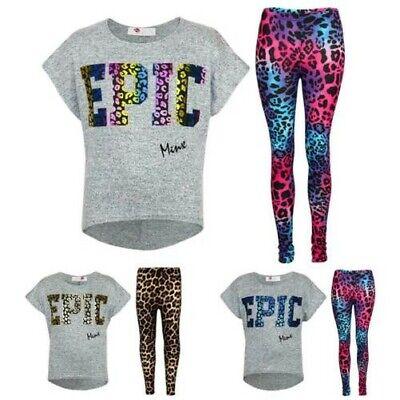 Kids Girls Famous Printed Stylish Top /& Fashion Legging Set New Age 7-13 Years