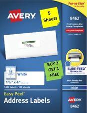 5 Sheets Avery 8462 Address Labels 1 13 X 4 Inkjet B2g1