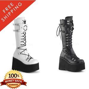 5e89f23b7fb0 Demonia KERA-200 Women s Platform D-Ring Lace-Up Knee High Boots