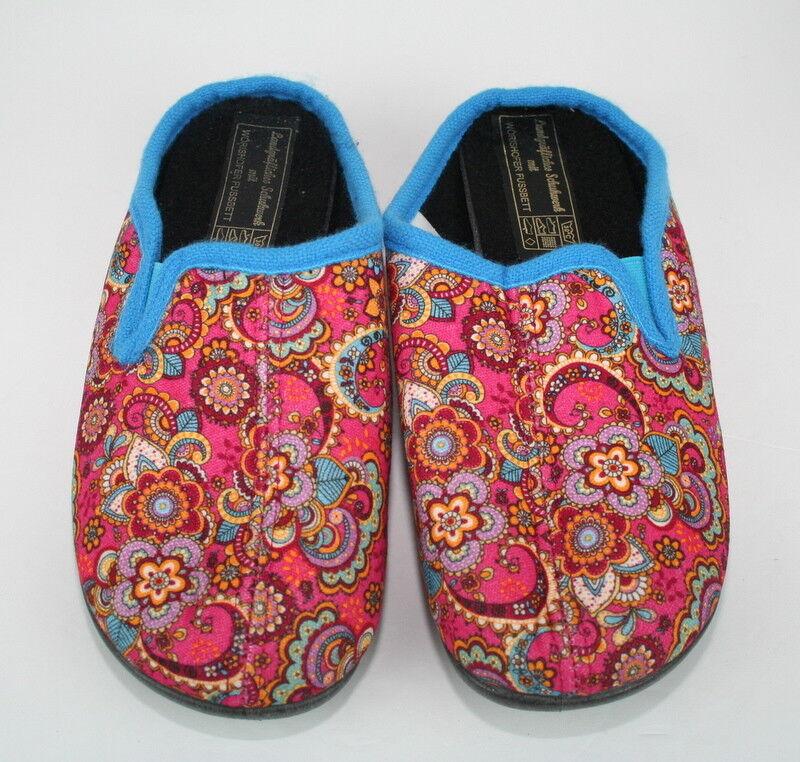 Worishofer Fussbett Pink Blue Floral Paisley Close Toe Slip On Spa Slippers 38
