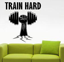 Gym Train Hard Wall Decal Fitness Motivational Vinyl Sticker Art Room Decor 2efs