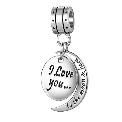 2903f5bd9838e I Love You to the Moon and Back Charms Bracelet Pandora 925 Sterling Silver  | eBay