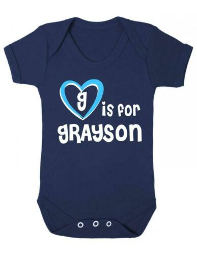 Playsuit Baby Vest Grayson Baby Bodysuit G Is For Grayson