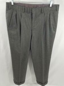 Oxxford-Clothes-Fawnskin38-40-Pleated-Mens-Wool-Dress-Pants-VTG