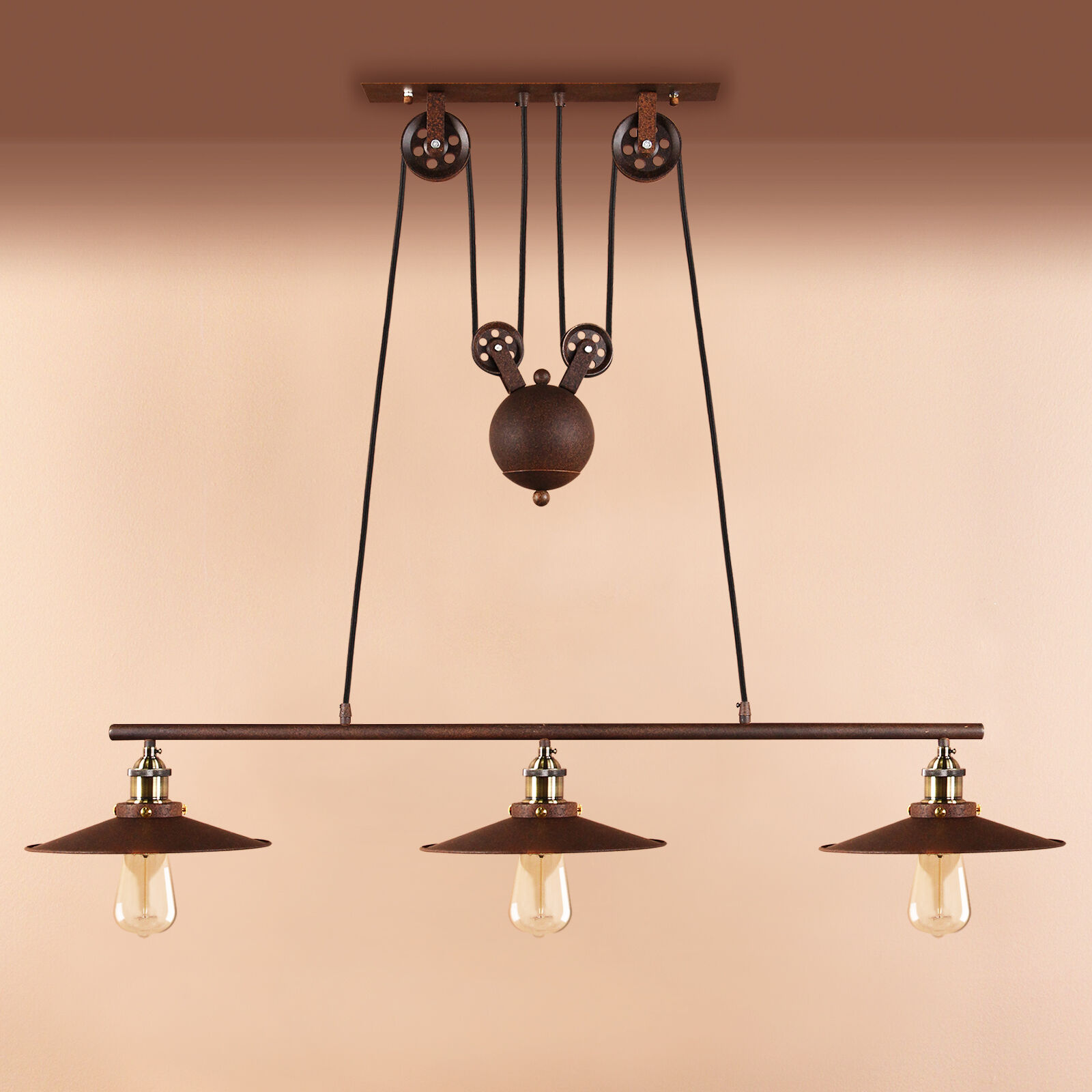 Retro Pulley Lamp Industrial Hanging Ceiling Light Pendant