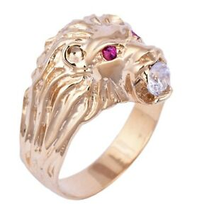 bague or massif lion