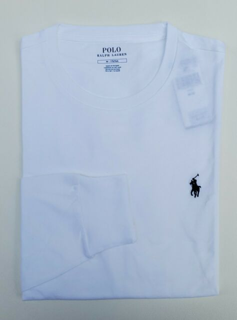 Polo Ralph Lauren Mens Long Sleeve T-shirt Pony Logo White Large With Tags