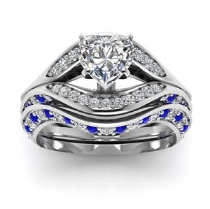 925 Bijoux en argent cœur Shape White Sapphire Romantique bague de mariage Taille 6-10