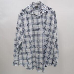 TD-Thomas-Dean-Button-Up-Shirt-Mens-XL-White-Blue-Plaid-Check-Cotton
