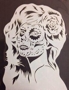 Image Is Loading Mylar Reusable Stencil 10 Mils Sugar Skull Girl