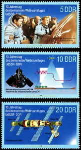 EBS-East-Germany-DDR-1988-Joint-USSR-GDR-Space-Flight-Michel-3170-3172-MNH