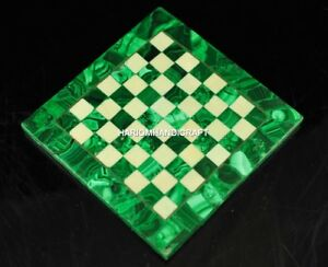 Marble-Chess-Top-End-Table-Inlaid-Rare-Malachite-Stone-Hallway-Arts-Decor-H4671A