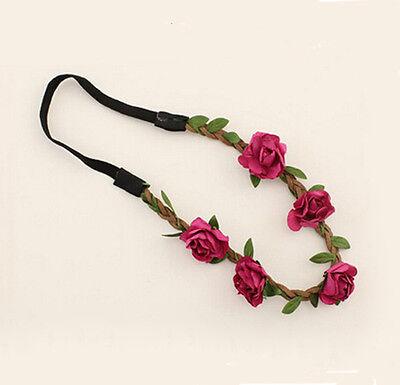 Women Girls Boho Floral Garland Hairband Wedding Party Flower Elastic Headband