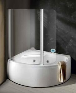 Vasca Ad Angolo Con Cabina Doccia.Vasca Angolo Asimmetrica 150x100 Mixer Idromassaggio Box Doccia Telaio Pannello Ebay