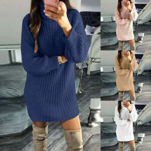 Women-Dress-Casual-Turtleneck-Long-Sleeve-Sweater-Pullovers-Sexy-Mini-Dresses
