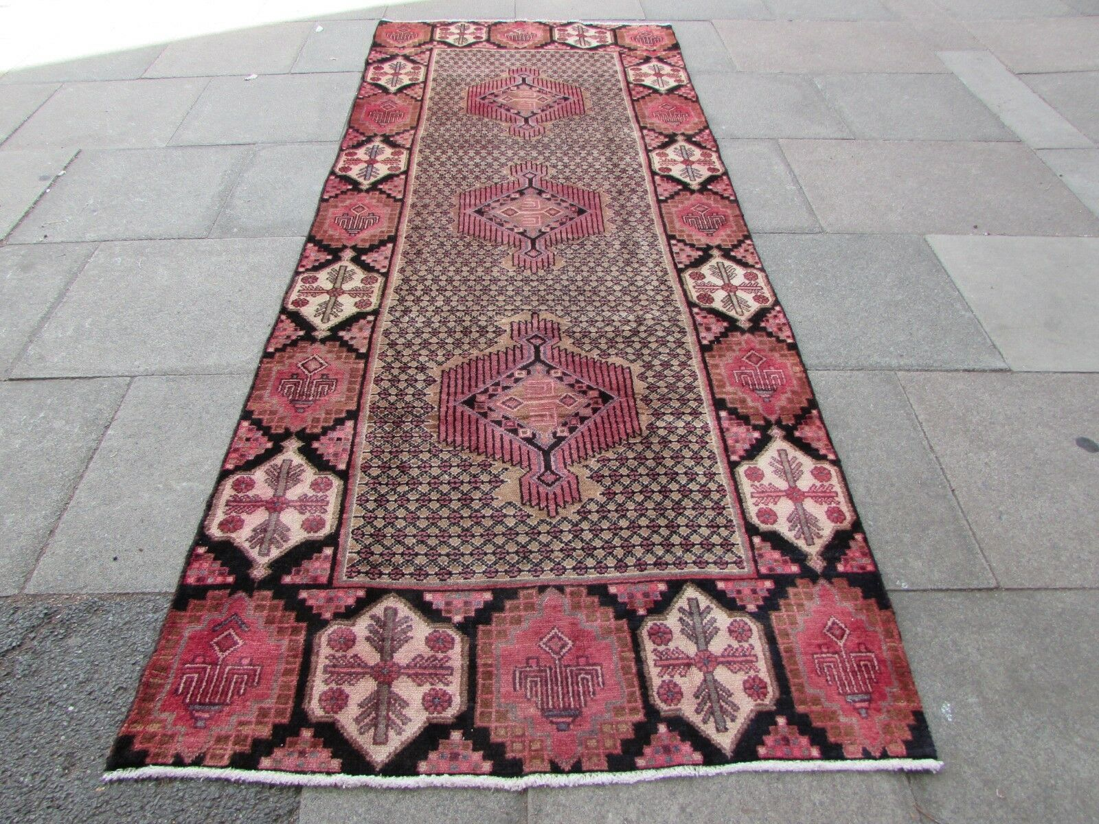 Old Hand Made Traditional Persian Rug Oriental Oriental Oriental Rug Wool braun Rug 324x129cm a68ae9