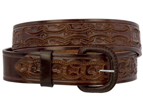 Mens Cognac Brown Hand Tooled Western Belt Cowboy Rodeo Dress Real Leather Cinto