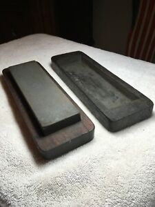 Very-Old-Sharpening-Oilstone-Tool-With-Hand-Carved-Wood-Box-Primitive-Special