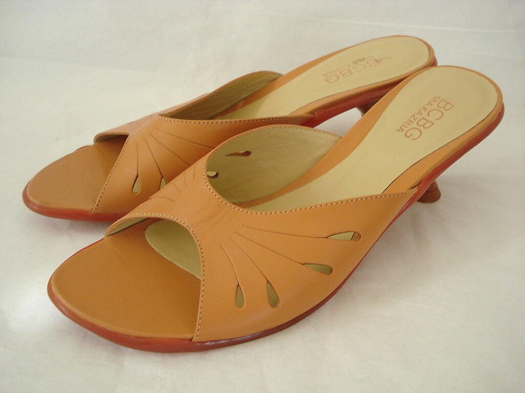 BCBG MAXAZRIA SZ 6M Creamy Heel Peach Leather Slide Medium Heel Creamy Sandal Shoes BRAZIL 1de233