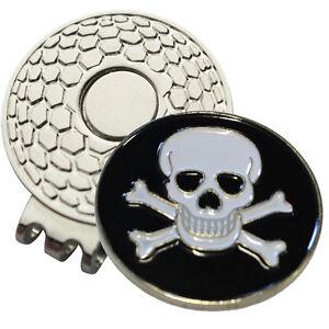 1-x-New-Magnetic-Hat-Clip-Skull-Bones-Golf-Ball-Marker-For-Golf-Hat-or-Visor