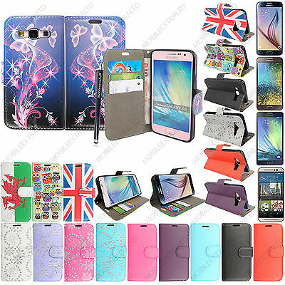 Folio Flip Wallet Book Leather Case Cover Pouch For Mobile Phones + Free Stylus