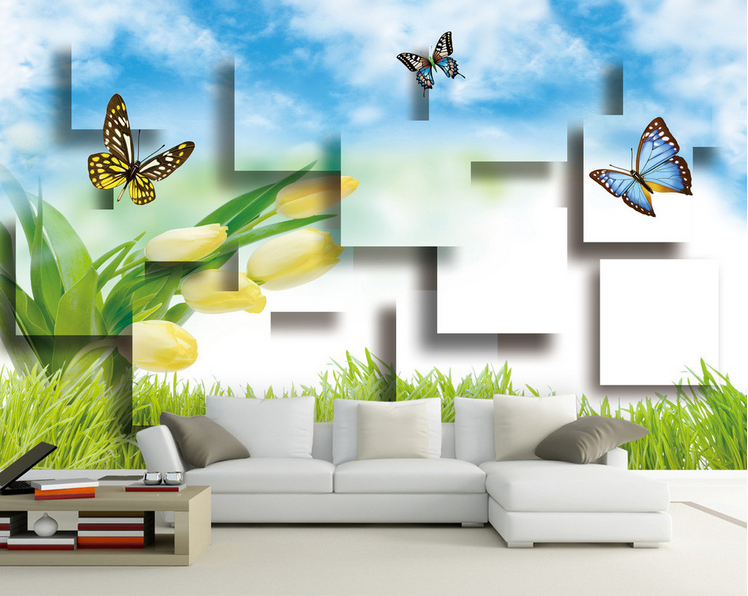 3D Schmetterlingsgras 566 Tapete Tapeten Mauer Foto Familie Tapete Wandgemälde