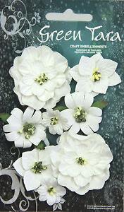 Fantasy-Blooms-WHITE-8-Mixed-Paper-Flowers-20-50mm-across-Green-Tara-GT-D