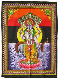 VISHNU-Wandbehang-Stoffbild-GOA-Indien-110x80-cm-Vischnu-Lakshmi-Wishnu-Wischnu