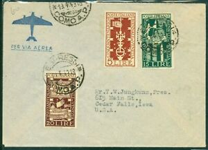 ITALY 1949.AIRMAIL Express letter- Como Italy to Cedar Falls USA