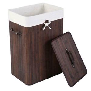 Large Foldable Bamboo Laundry Bin Basket Hamper Linen Cloth Washing Box Lid
