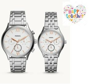 ORIGINAL-FOSSIL-His-and-Her-Couples-Watch-Silver-Rose-Stainless-Steel-BQ2468SET