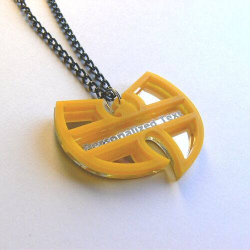 Wu Tang Clan personalized text necklace Laser cut mirror yellow acrylic
