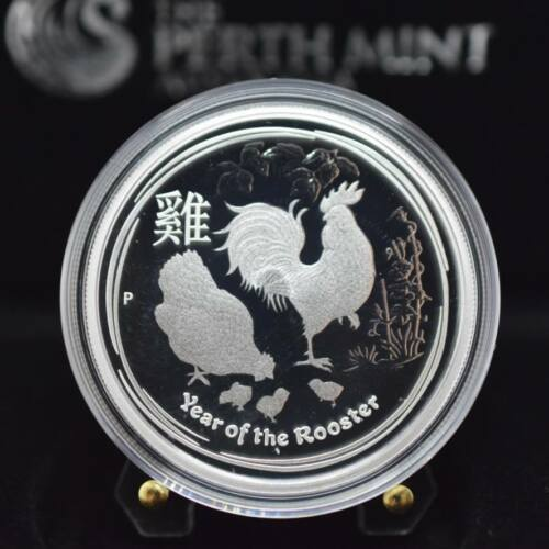 2017 1//2 oz Australian Lunar II The Year of the Rooster Silver Proof Coin