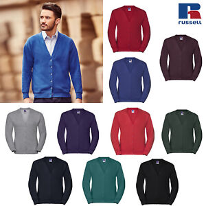 Russell-Men-039-s-Fleece-Cardigan-R-273M-0-Winter-Long-Sleeve-V-Neck-Casual-Sweater