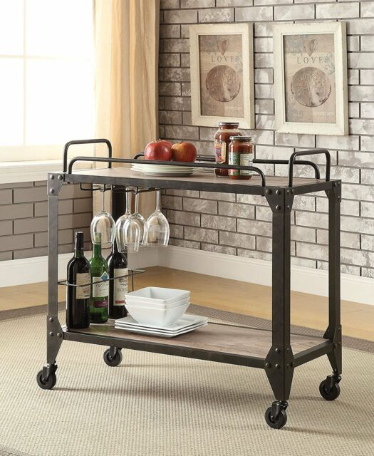 Industrial Bar Serving Cart Kitchen Island Rolling Table Rustic Wood Metal  Brown