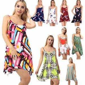 Mini-Vestido-senoras-para-mujer-Cami-Con-Tiras-Sin-Mangas-Swing-Floral-Tulipan-Camiseta-Prendas-para